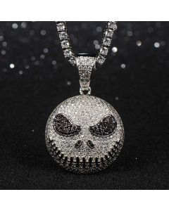 Iced Skull Pendant in White Gold