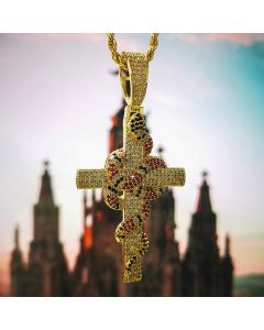 Twisted Coral Snake Cross Pendant in Gold