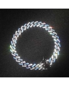 8mm Blue&White Iced Cuban Bracelet
