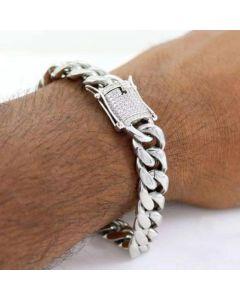 10mm 18K White Gold Finish Miami Cuban Bracelet