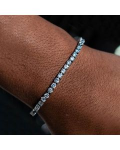 3mm Single Row Tennis Bracelet in White Gold