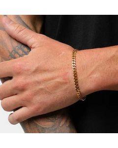 """5mm 8"""" Stainless Steel Cuban Bracelet in Gold"""