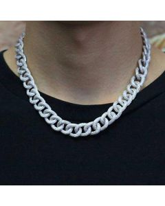13mm 2019 New 18K White Gold Finish Diamond Cuban Link