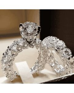 1.8 Ct Round Cut 4-Claw Mirco Pave Ring Set
