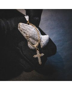 Iced Hands of an Apostle Pendant in Gold