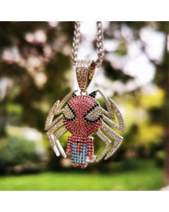 Multi-color Iced Little Spider Pendant in 18K White Gold