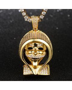 Iced False Face Pendant in Gold