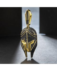 Iced Warrior Helmet Pendant in Gold