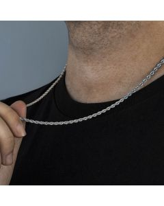 3mm 18K White Gold Rope Chain