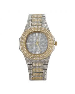 Two-Tone Pave Iced Rounded Square Fashion Men's Watch