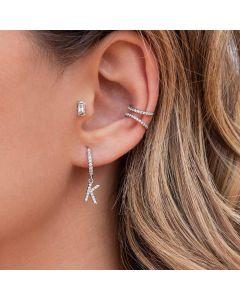 Iced Initial Huggies Earring