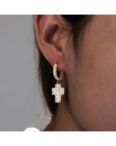 Iced Princess Cut Cross Drop Earring