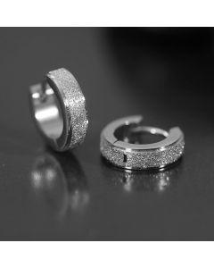 Titanium Steel Frosted Hoop Earrings