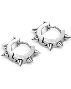 Stainless Steel Punk Rivet Hoop Earrings