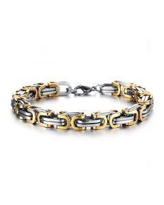 8mm Gold & Silver Titanium Steel Byzantine Bracelet