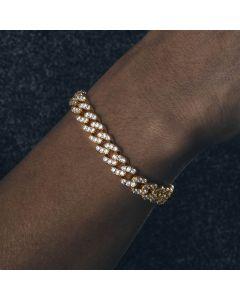 Iced 8mm Cuban Link Bracelet in Gold