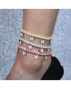 Iced Butterfly Tennis Anklet