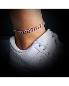 8mm Iced Pink and White Stone Cuban Anklet in White Gold