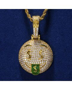Iced Money Face Emoji Pendant in Gold