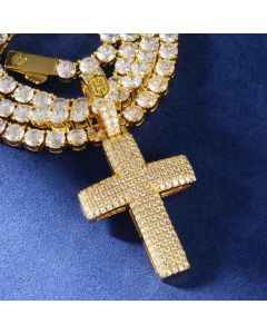 Iced Religious Cross Pendant in Gold