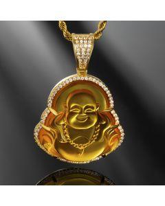 Iced Yellow Jade Buddha Pendant
