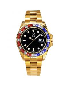40mm Two Tone Iced Black Dial Watch In Gold