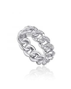 Iced 8mm Cuban Ring in White Gold