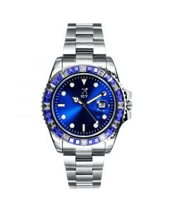 40mm Two Tone Iced Blue Dial Watch In White Gold