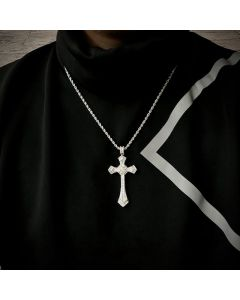 """Iced Baguette Diamond Cross Pendant with 24"""" Rope Chain in White Gold"""