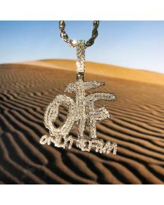 """Iced ONLY THE FAM Pendant with 24"""" Rope Chain in White Gold"""