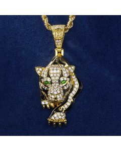 """The Walking Leopard Pendant with 24"""" Rope Chain in Gold"""