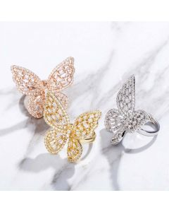 Women's Baguette Stone Butterfly Open Ring