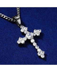 White Gold Iced Cross Pendant