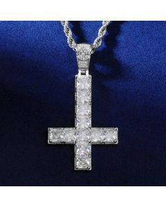 Upside Down Cross Pendant in White Gold
