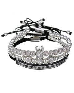 3Pcs Iced Crown Copper Beads Steel Bracelet Set in White Gold