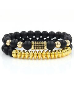2Pcs Black Frosted & Gold Copper Beads Bracelet Set in Gold