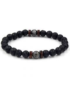 Natural Black Lava Stone with Herkimer Crystal Bracelet