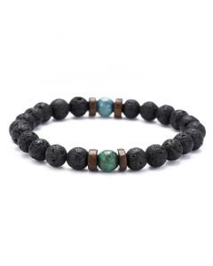Natural Black Lava Stone with Malachite Bracelet