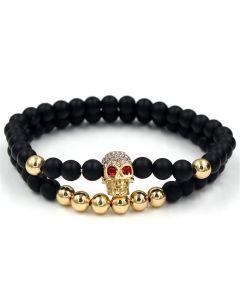 2Pcs Black Frosted & Gold Copper Beads Skull Bracelet