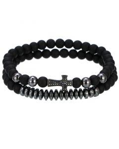2Pcs Black Frosted & Black Gold Copper Beads Cross Bracelet