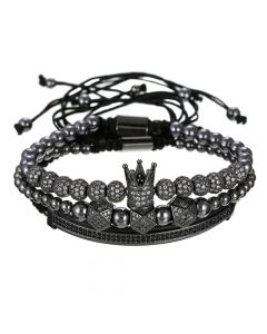 3Pcs Iced Crown Copper Beads Steel Bracelet Set in Black Gold