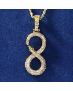 "Iced ""8"" Ouroboros  Pendant in Gold"