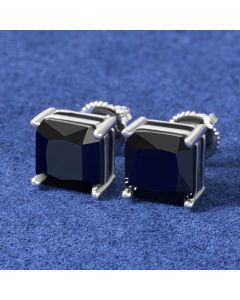 Black Radiant Cut Stone Stud Earring in White Gold
