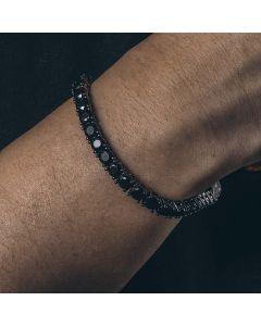 5mm Black Stones Tennis Bracelet in Black Gold