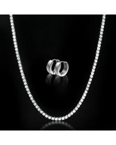 "8mm/10mm/12mm/14mm 8"" Stainless Steel Cuban Bracelet in White Gold"