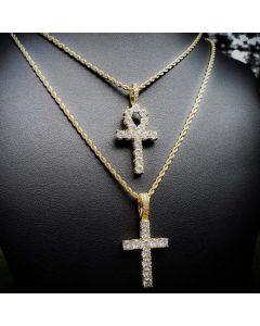 Iced Cross&Ankh Pendant Set in Gold