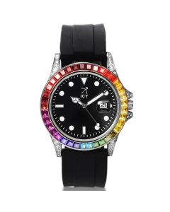 40mm Gradient Stones and Black Dial Alloy Watch with Black Rubber Strap