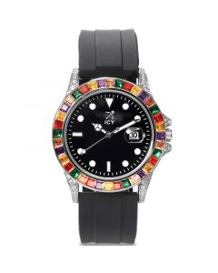 Rainbow White Gold Luminous Watch with Black Rubber Strap