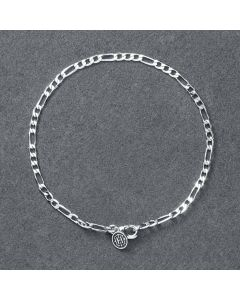 3mm Figaro Bracelet in White Gold