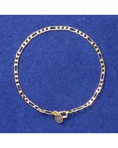 3mm Figaro Bracelet in Gold